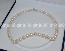 Natural 10-11mm Akoya White Pearl Necklace Handmade Tibetan Silver 18''