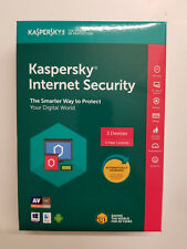 KASPERSKY INTERNET SECURITY 2019 3 PC 1 YEAR NEW IN SEALED BOX Ships 3 day !