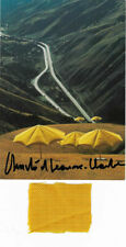 Christo and Jeanne Claude umbrellas USA original hand signed stoff 5 x 4  cm