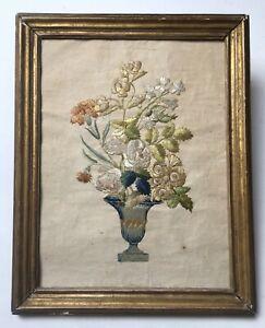 Broderie ancienne, Fil de soie sur papier, Bouquet de fleurs, Cadre, XIXe