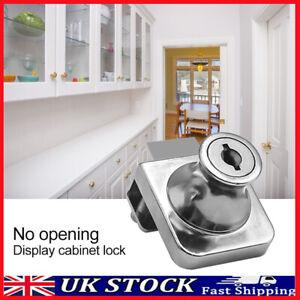 Hole-Free Glass Showcase Door Lock Zinc Alloy Glass Cabinet/Door/Safe Lock UK