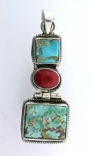 Sterling Silver Persian Turquoise Coral Cabochon Cab Gemstone Pendant EBS2355