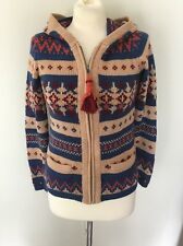 Anthropologie SPARROW Fairisle Hooded Zip-Up Cardigan Sweater Fringe Small EUC