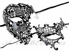 Men Women Black Half Face Metal Evil Skull And One Eye Phantom Masquerade Mask