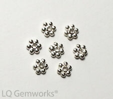 """6"""" Strand .925 STERLING SILVER 4mm Bright Daisy Spacer Beads"""