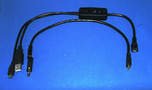 Cable set for Atrix Lapdock to Raspberry Pi 2 or 3 with ON/OFF switch (Not Pi 4)