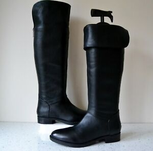 """NEW DUNE,LONDON """"ANNIE"""" BLACK LEATHER FLAT OVER THE KNEE BOOTS UK3 EU36 RRP £145"""