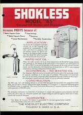 Shokless Coconut Oil Heater Rare Early 1960's Dealer Sheets & Price List Popcorn