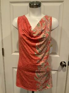 Athleta Coral Pink Paisley Print Cowl Neck Athletic Tank Top, Size Small