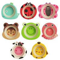Baby Bowls Cartoon Tableware Feeding Plate Bamboo Fiber Kids Dishes CutleryUULK