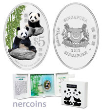 Singapore 2012 Giant Panda $5 Oval 1 Oz Silver Proof Coin w Special Case Perfect