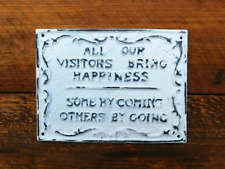 Welcome Funny Sign, Shabby white wall plaque. Front door Sign, Rustic Handmade