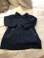 Baby Gap Toddler Girls Moto Denim Dress Peter Pan Collar Size 2T 2 Years