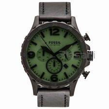 Fossil Original JR1519 Men's Nate Black Leather Watch 50mm Chronograph