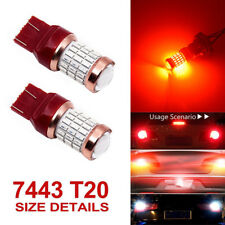 2X T20 7443 60SMD Red Blinking Alert Safety Brake Tail Stop Light Bulbs 1200lm