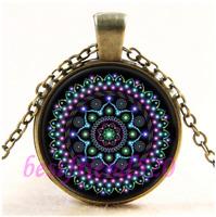 Vintage Mandala Photo Cabochon Glass Bronze Chain Pendant Necklace#CE58