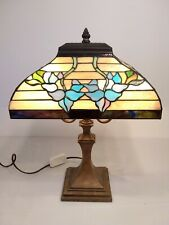 "Tiffany Style VINTAGE Mission 2 Light dimmer Table Lamp 21"" TALL"