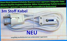 NEU Stecker+Netz Kabel Power Dyna Cord Neumann U N61 Klemt Echolette 3m Stoff