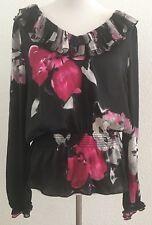 Women's WHITE HOUSE BLACK MARKET Black Pink White Long Sleeve Blouse Top Sz L