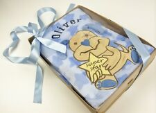 Personalised  Blue 'Super Star'  Baby Blanket in Gift Box with Ribbon & Gift Tag