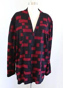 Ming Wang Womens Black Red Knit Block Geometric Print Cardigan / Jacket Size 2X