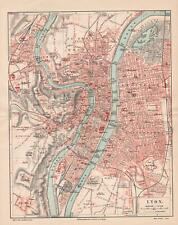 Antique map. FRANCE. CITY MAP OF LYON. 1905