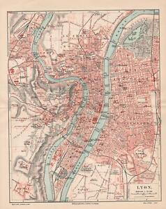 Antique map. FRANCE. CITY MAP OF LYON. c 1905