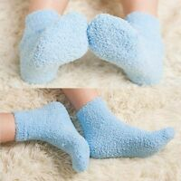 Trendy Women Girls Home Pure Color Soft Bed Floor  Winter Warm Fluffy Socks