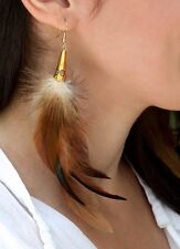 Accent Drop Earring Set Wholesale Boho Natural Feather Gold