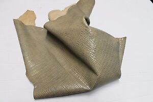 Italian CALF leather skin BEIGE DISTRESSED CROCODILE EMBOSSED 8+sqf #A1918