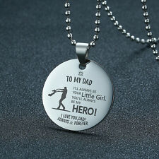 Men Necklace Dog Tag Coin Pendant Personalized Father's Day Dad Son Husband Gift