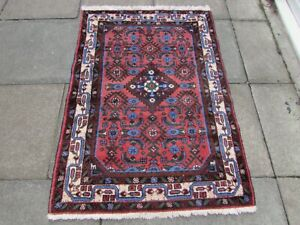 Vintage Hand Made Traditional Oriental Wool Red Small Rug 145x103cm
