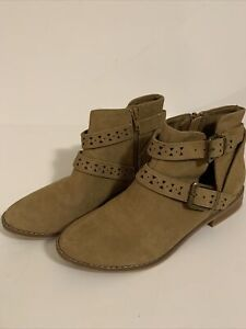 ROCKET DOG MACK Ankle Boots BOOTIES Faux Suede Nubuck NATURAL Laser Cut Tan 8 M