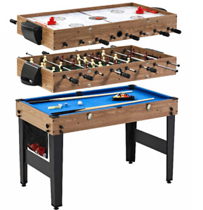 """MD Sports 48"""" 3 In 1 Combo Game Table, Pool, Hockey, Foosball, Accessories Inclu"""