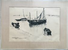 Lot 2 dessins signés Denise Bourdouxhe, XXe, Saint-Valéry Somme, Drawings 20th