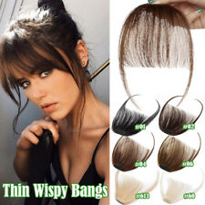 Thin Neat Wispy Bangs 100% Real Remy Human Hair Clip in Fringe Front Hairpiece F