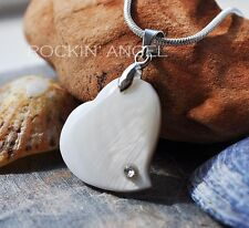 925 Silver Necklace Pendant with Shell Heart and Crystal Stud Ladies Gift