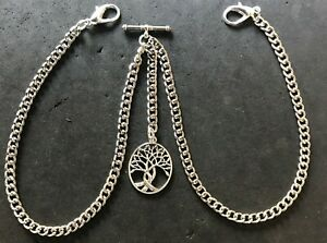 silver colour double Albert pocket watch chain with a tree of life charm fob