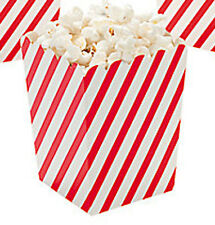 CIRCUS CARNIVAL Red Striped Mini Popcorn Treat Boxes Pack of 6 Free Postage