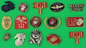 15 MARINE CORPS - MILITARY LAPEL / HAT PINS - DEALER COLLECTOR LOT - USMC