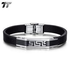 Greek Key Bracelet Wristband (Br202) New Tt Black Leather 316L Stainless Steel