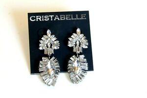 Cristabelle Earrings silver plated crystal Flower dangle drops post women's