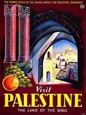 TRAVEL VISIT PALESTINE BIBLE LAND JERUSALEM ISRAEL VINTAGE POSTER PRINT 1073PY