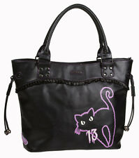 Banned 9 Lives Black Cat Kitty Broken Mirror Handbag School Shoulder Bag Black
