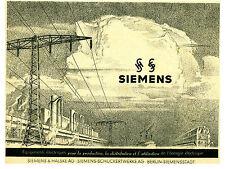 Publicité ancienne Siemens équipements électriques 1941 issue de magazine