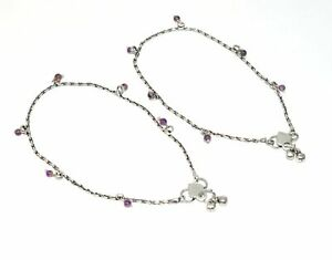 925 SILVER PLATED PURPLE AMETHYST ANKLET -10 INCH N240