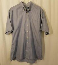 Jos A Bank Stays Cool S/S Button Down Cotton Dress Casual Mens Shirt Blue Large