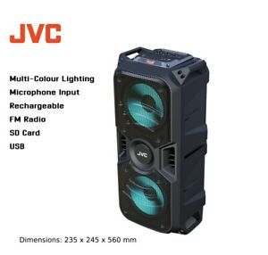 JVC Portable Bluetooth Speaker/SD Card/USB/FM Radio/Microphone In/Rechargeable