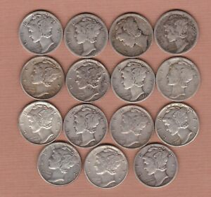 15 USA SILVER DIMES 1916S TO 19455 IN FINE TO GOOD VERY FINE CONDITION
