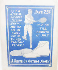 GREAT VINTAGE 20S SPORTING GOODS SHOE SALE HANGING AD WITH TENNIS PLAYER 2 SIDED